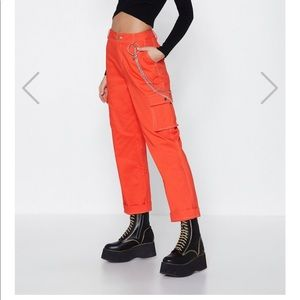 Nasty Gal orange utility pants